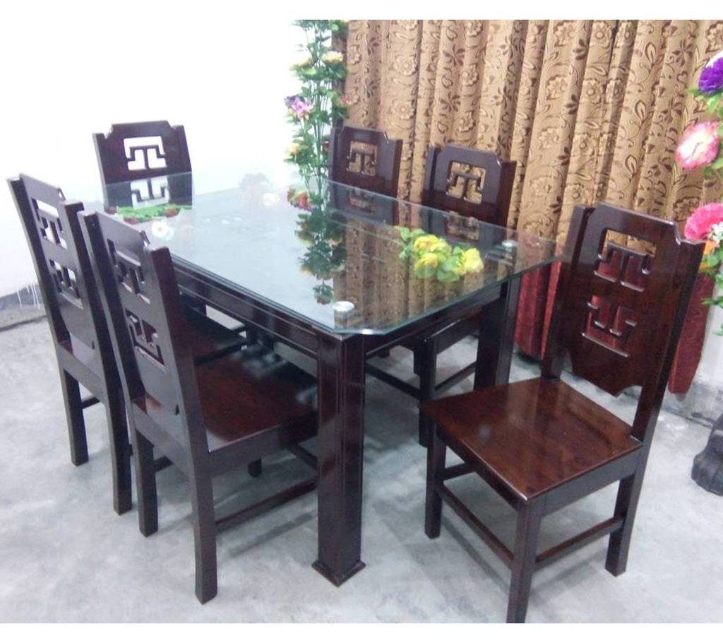 malaysian wood dining set (6+1) :di 13