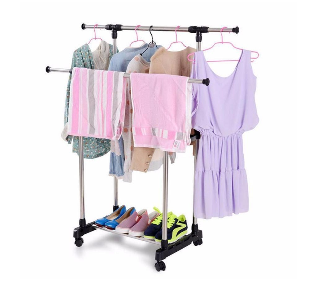folding double clothes & shoe rack