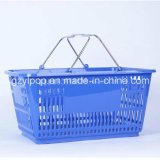 wholesale metal handle plastic basket for supermarket