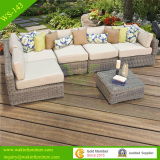 semi-round rattan outdoor sectional garden sofa