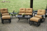 swivel and glide chat love seat set patio furniture